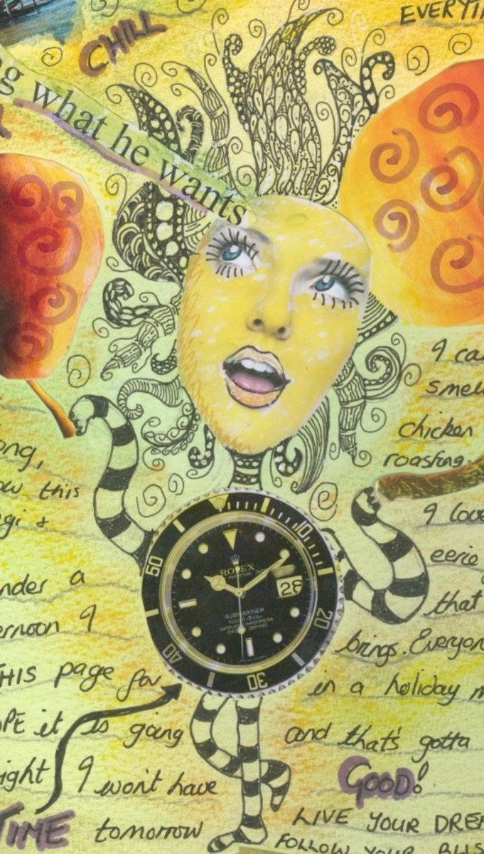 Collage created from magazine cut-outs and Zentangle.