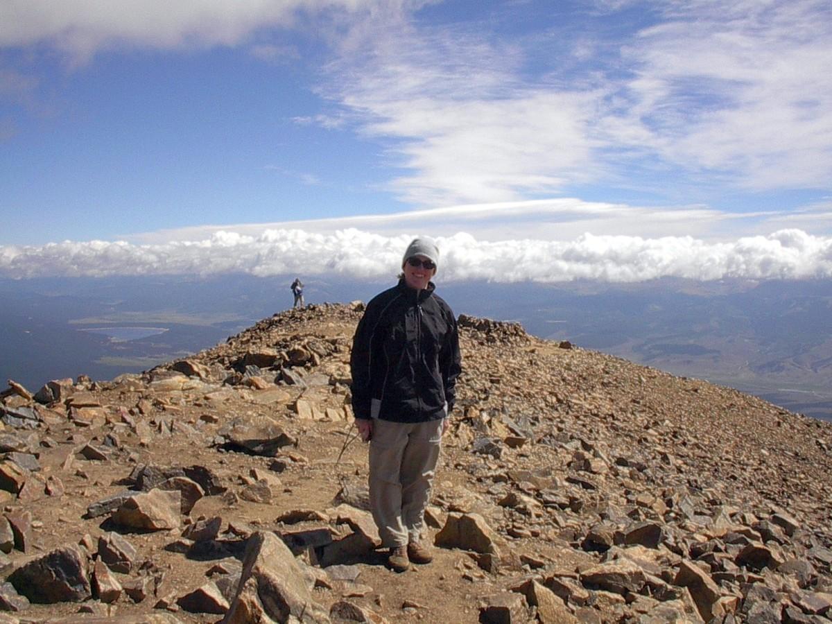 On top of the Rockies at Mt. Elbert's summit.
