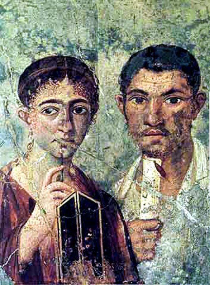 Pompeiian fresco of a young couple. Museo Archeologico Nazionale di Napoli (inv. nr. 9058).