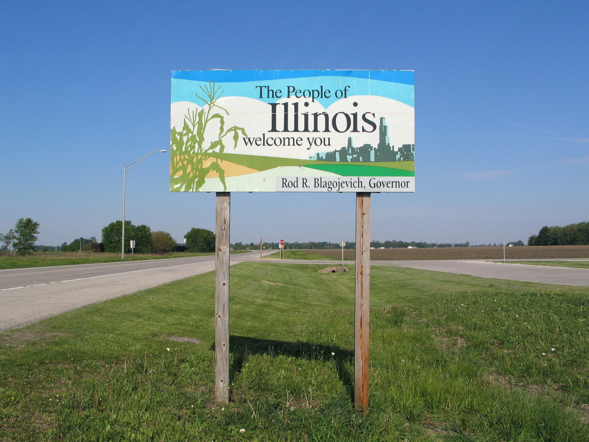 The People of Illinois Welcome You sign