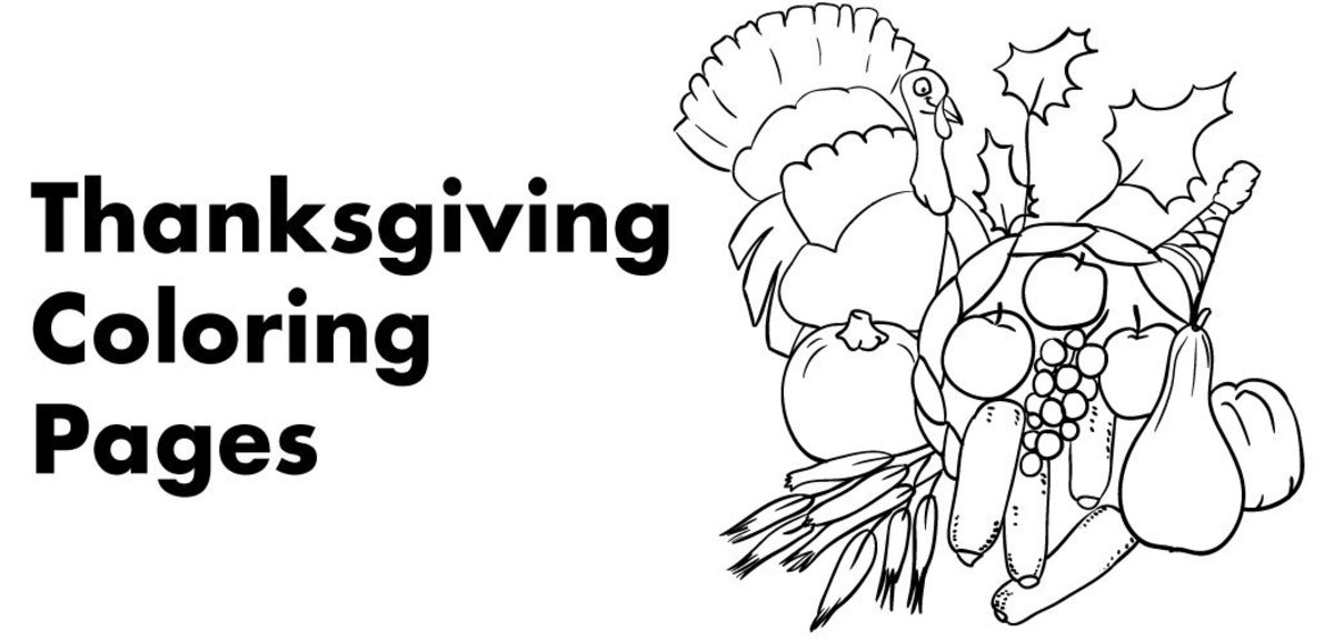 Thanksgiving-themed coloring pages, including printables of turkeys, cornucopias, Native Americans, and Pilgrims.