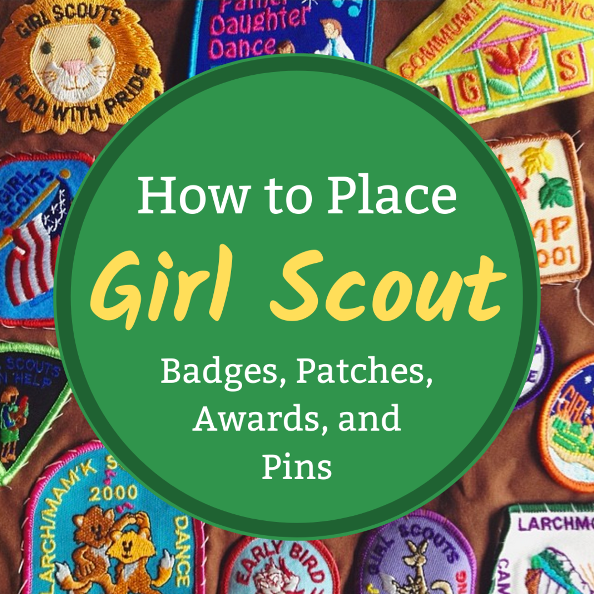 Learn where to place different Girl Scout awards and emblems on a sash or vest, including the troop numbers, Girl Scout membership pin, and skill-building badges.