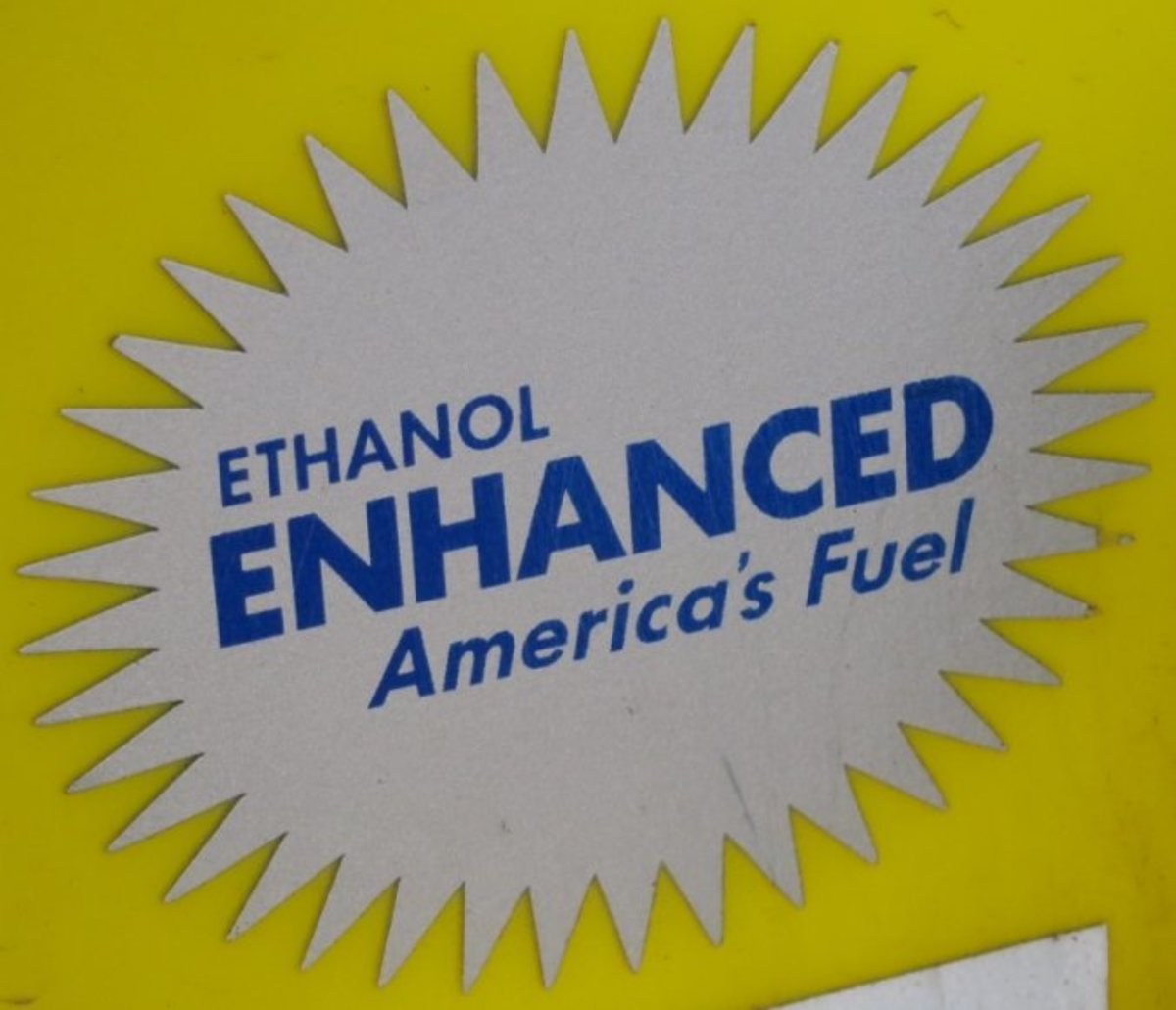 The advertisement from a local chain of filling stations for ethanol treated gasoline, also known as E10.