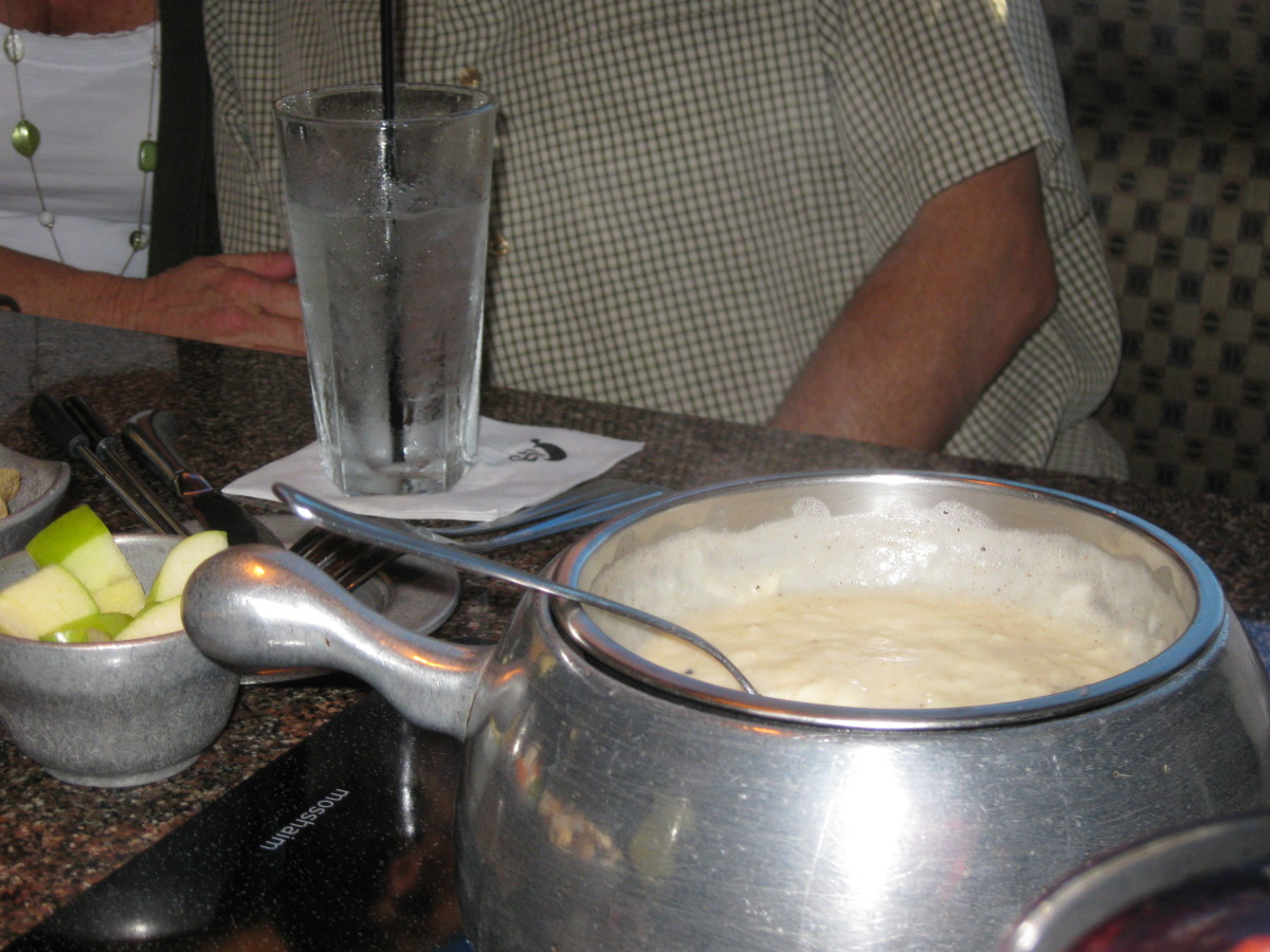 Cheese fondue at the Melting Pot restaurant
