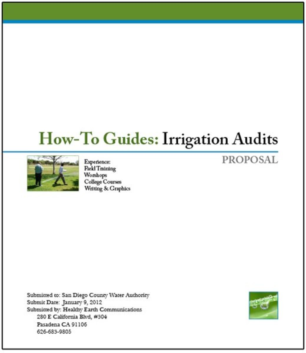 Cover page designed for a (not real) proposal - to prepare an instruction manual on how to conduct irrigation system audits. Note how well the photo illustrates the project, yet doesn't dominate.