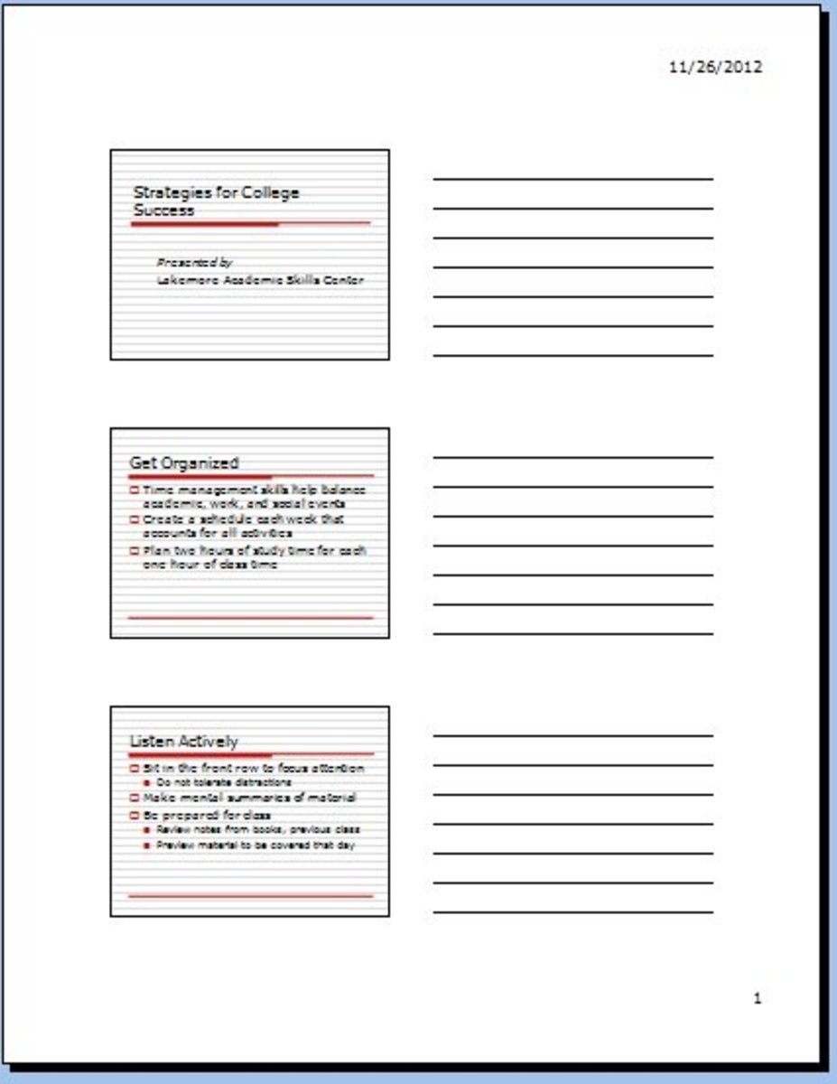 Print handouts with notes in PowerPoint