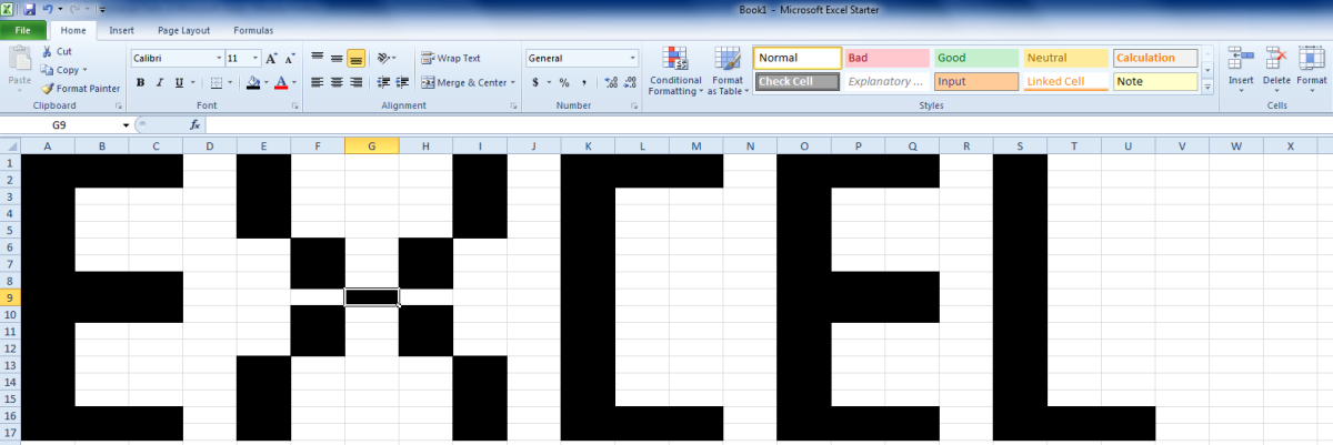 A screenshot of merged cells in Microsoft Excel.