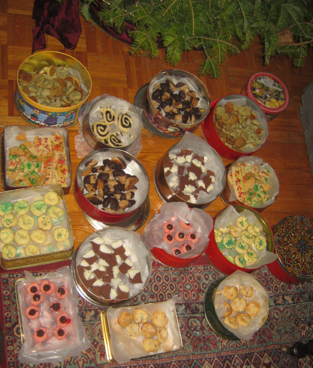 Christmas cookie assortment. This is my half of what we produced last year in one day!