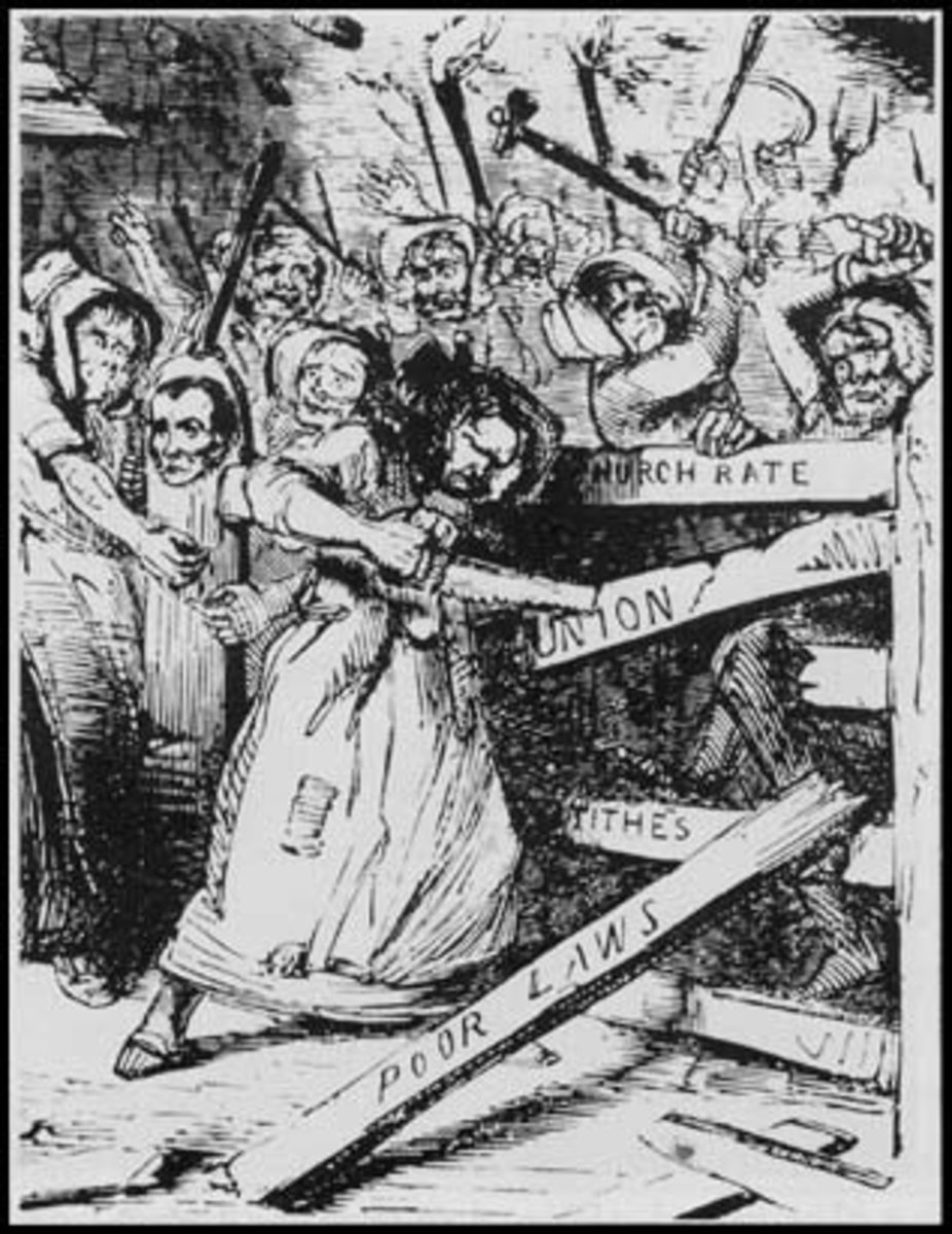 A cartoon showing a Rebecca Riot, published in Punch 1843