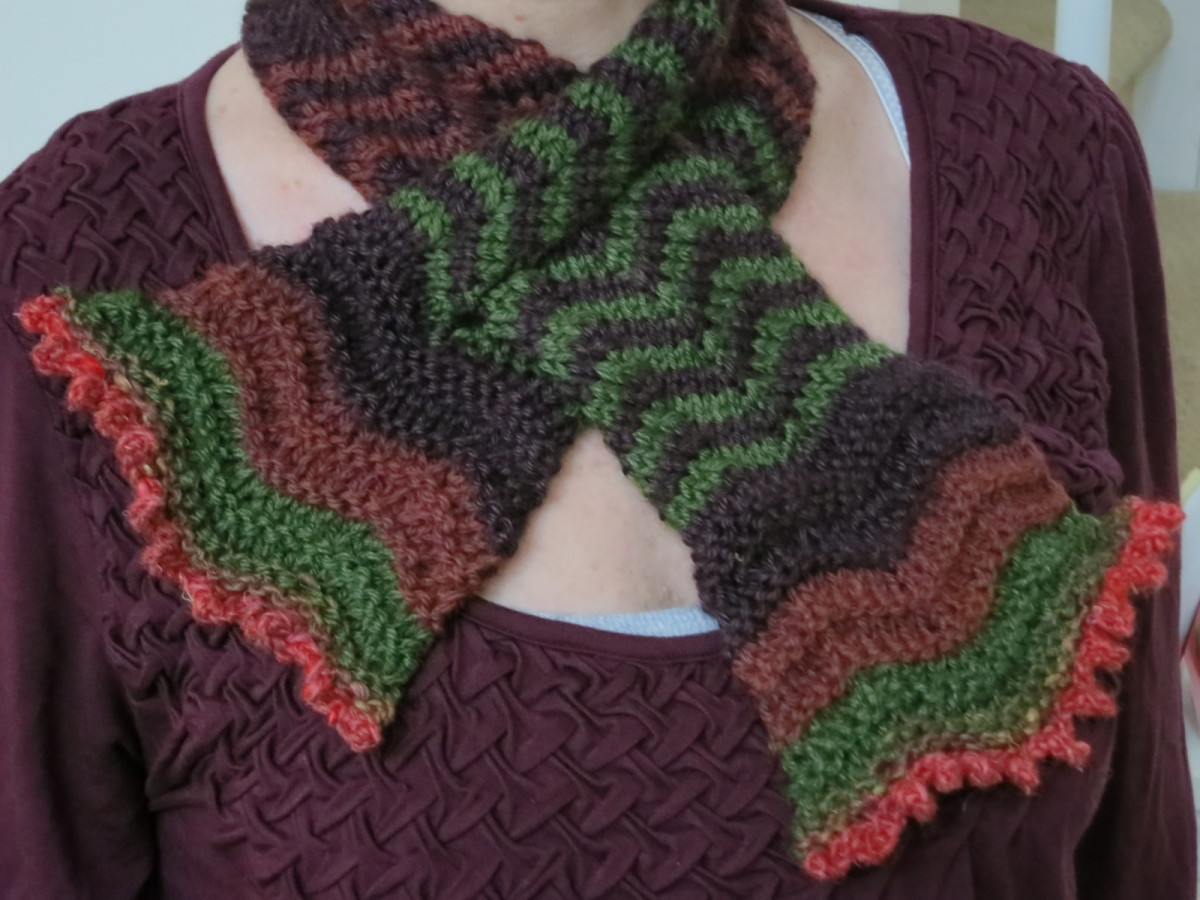 Free Knitting Pattern:  Blooming Colors Scarflet