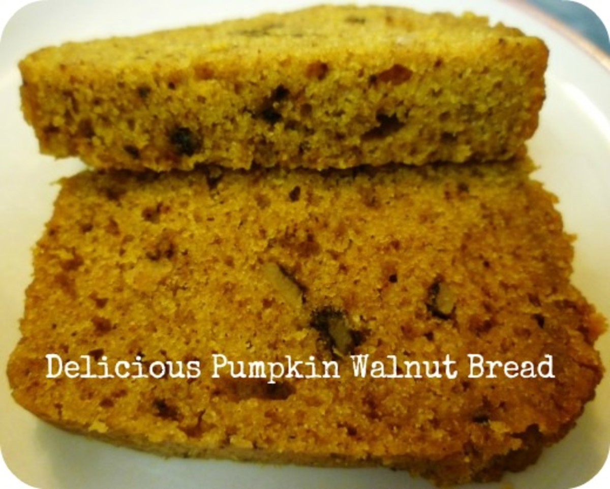 Slices of Pumpkin Walnut Bread