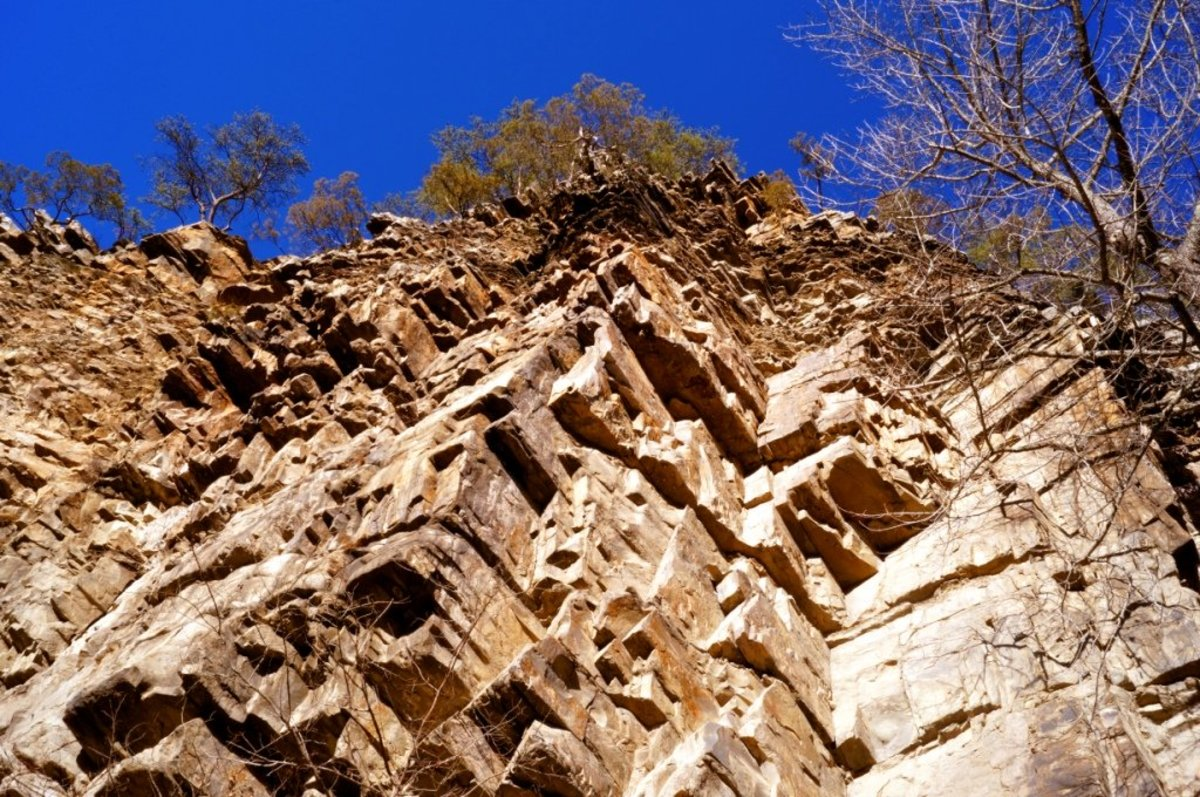The rock face looking up at Paint Rock.