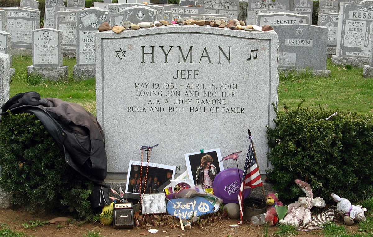 Headstone of Jeff Hyman (aka Joey Ramone) who tragically succumbed to lymphoma (a type of blood cancer) on April 15th, 2001.