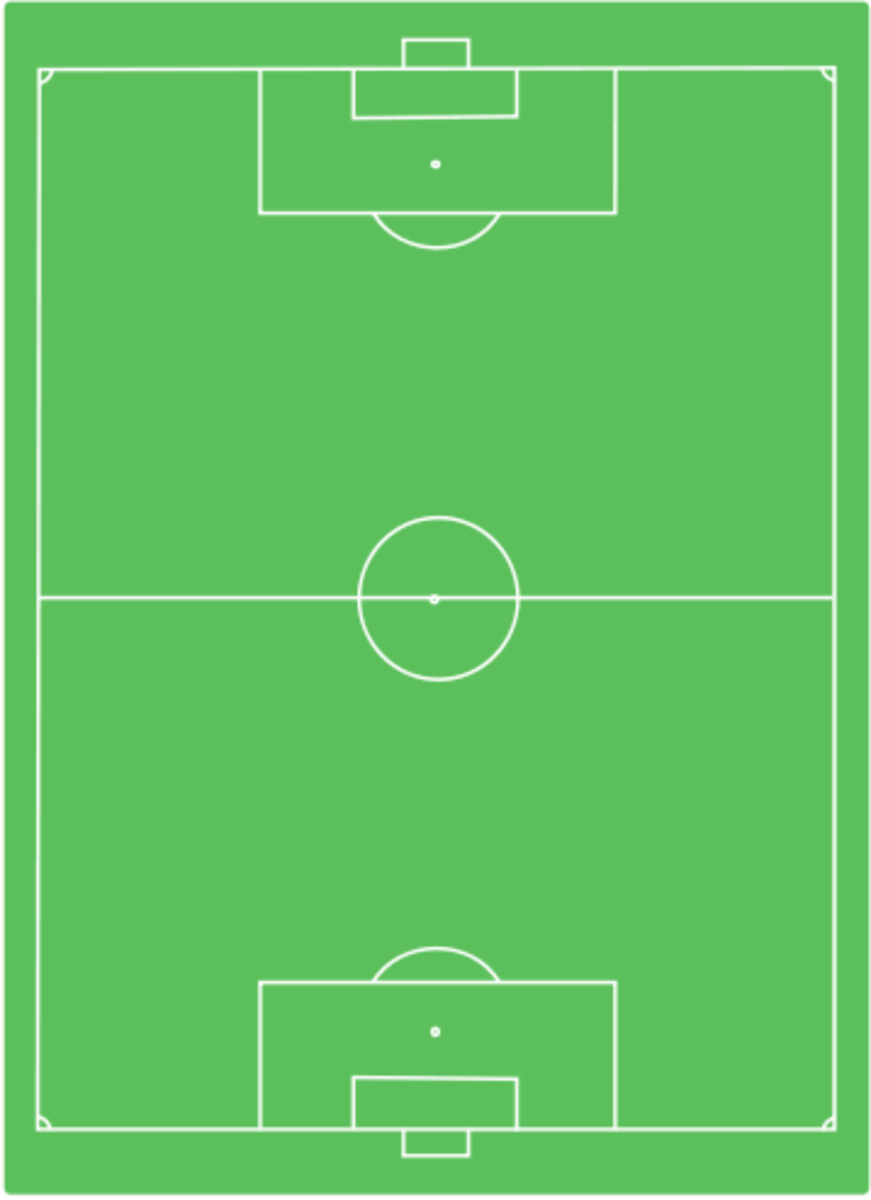 This is a soccer field showing the following lines, goal box, goal line, midfiled line, center circle and sidelines.