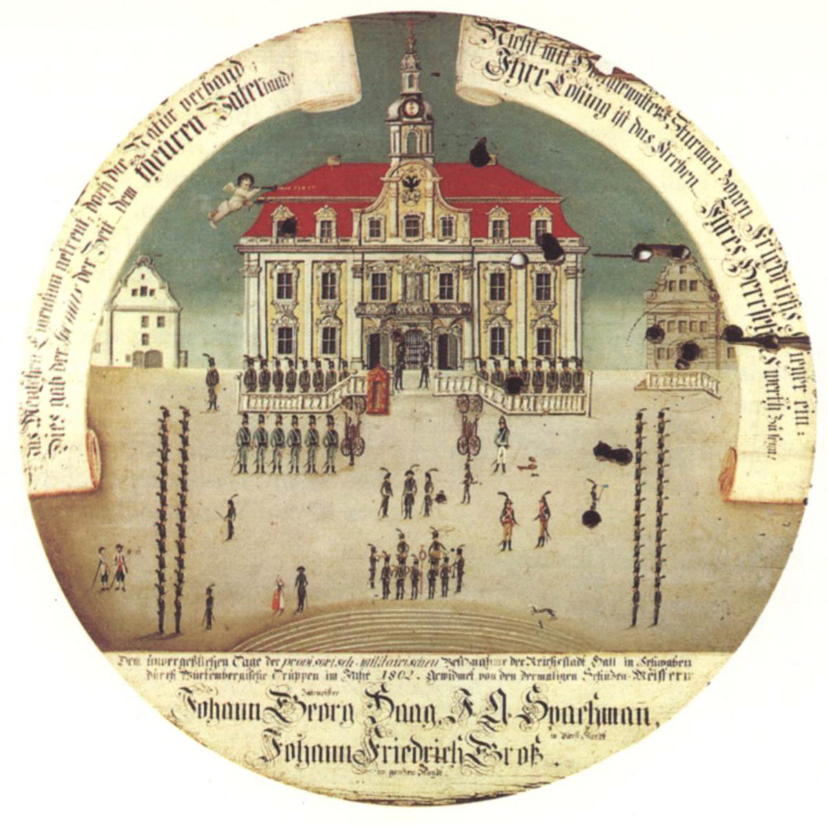 The 1802 mediatization of Hall in contemporary imagery, Schwabisch Hall is where the novel takes place.
