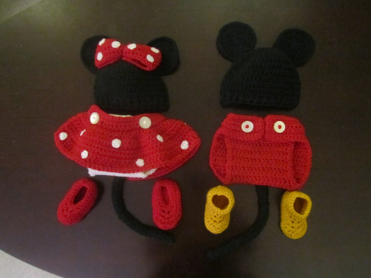 Crochet Mickey and Minnie Baby Costume