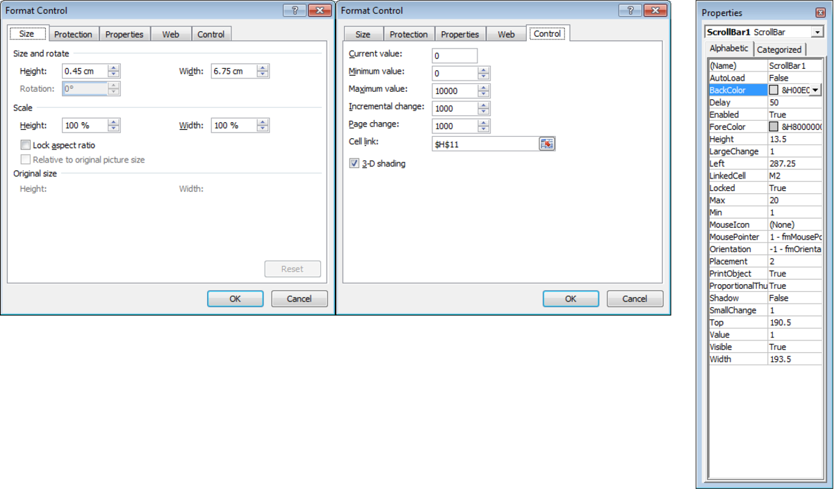 Configurable options available for Scroll Bars in Excel 2007 and Excel 2010. Options available for Form Controls are on the left and in the middle. ActiveX Control bars have all three available to them.