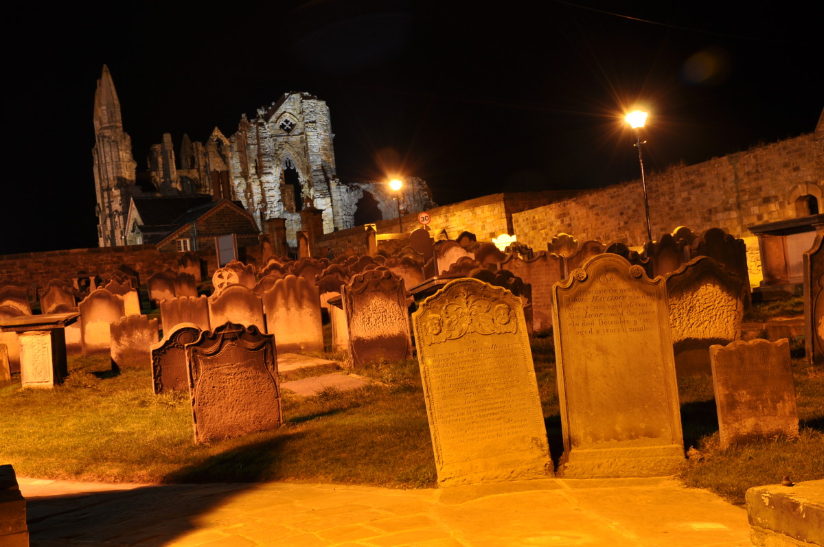 A graveyard at night, symbolic of the graveyard shift.