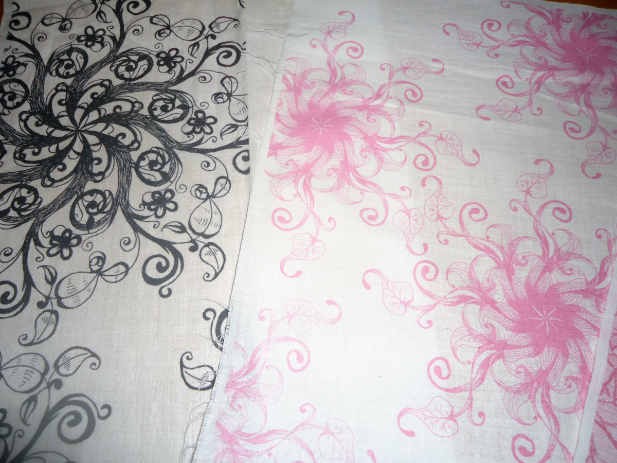 Fabrics printed in my ink jet printer.