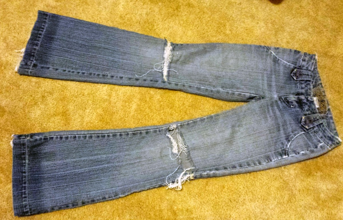 An old pair of jeans, before I turned them into something else.