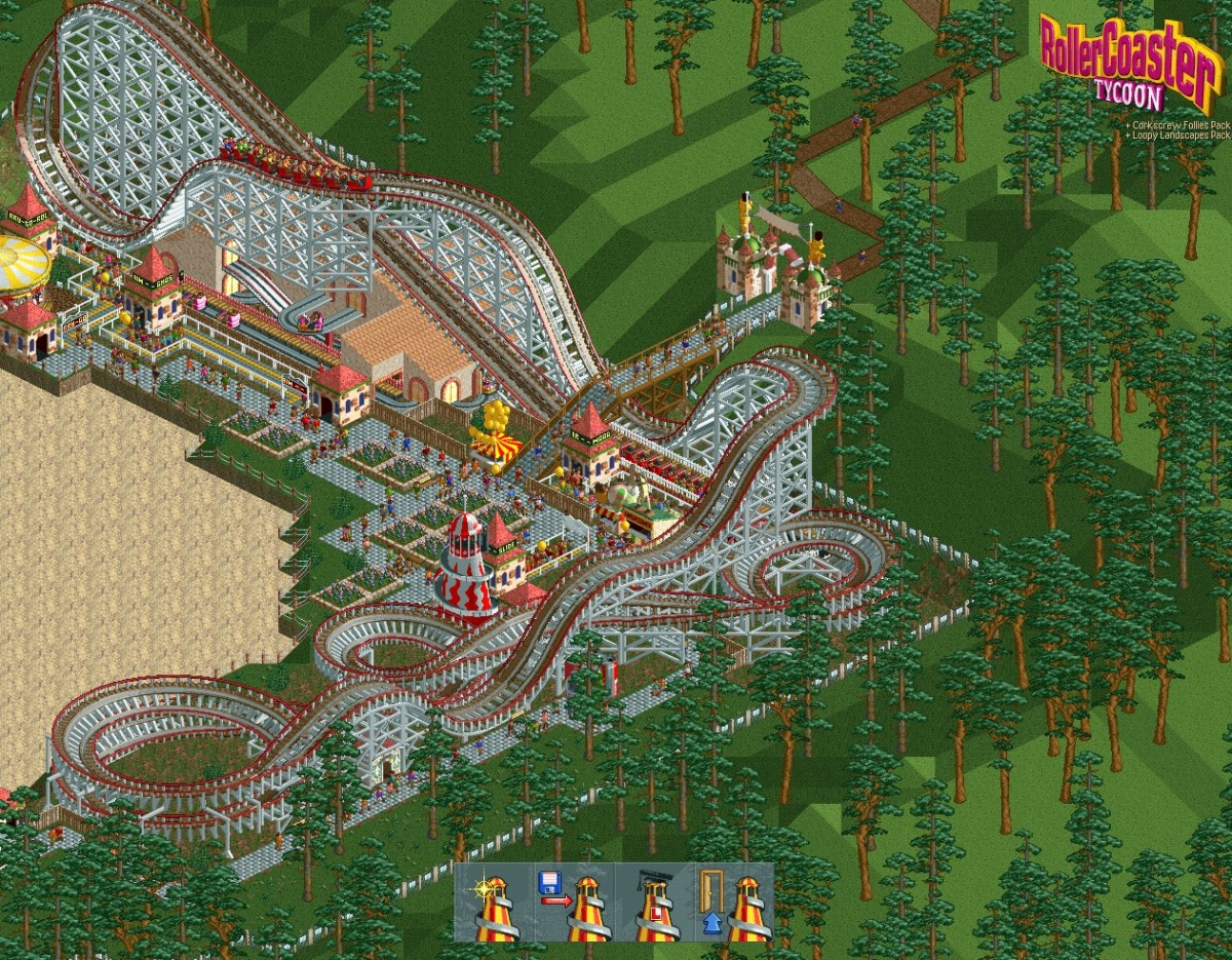 "Main menu from ""RollerCoaster Tycoon."""