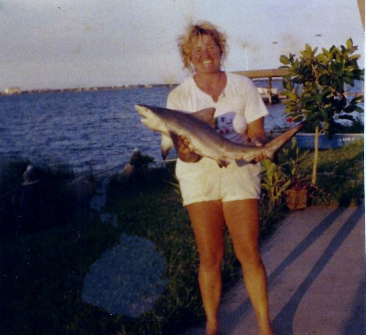 My first saltwater shark fishing trip, with a black tip shark. You can sure tell I was in the fresh salt air all day; the salt air makes your hair stiff.