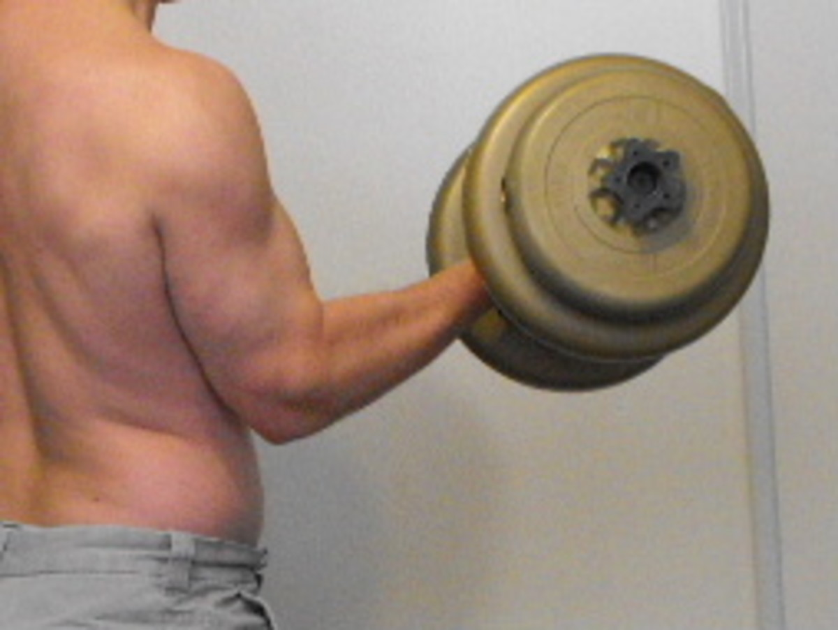 Curling a heavy dumbbell.