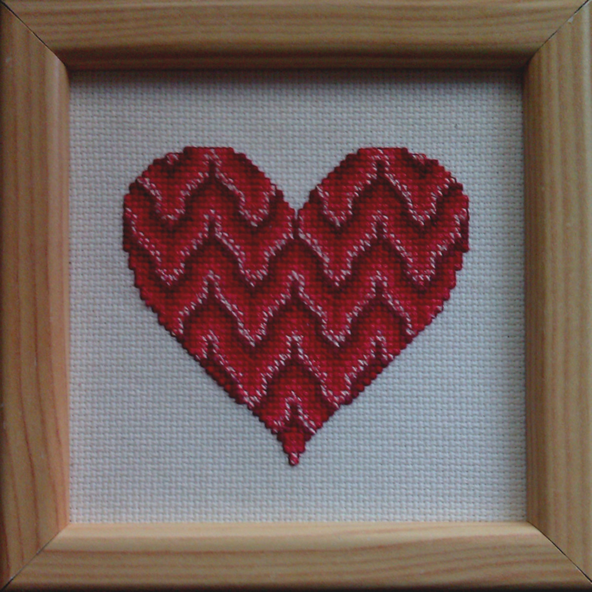 Bargello Valentine's Day Heart: Free Cross-Stitch Pattern