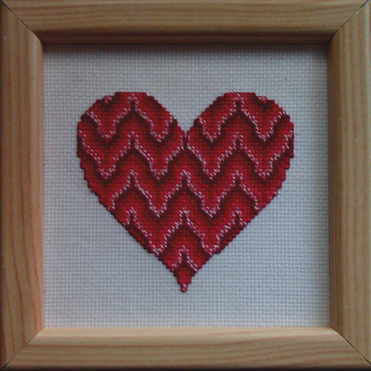 Free Bargello Cross-Stitch Valentine's Heart Pattern
