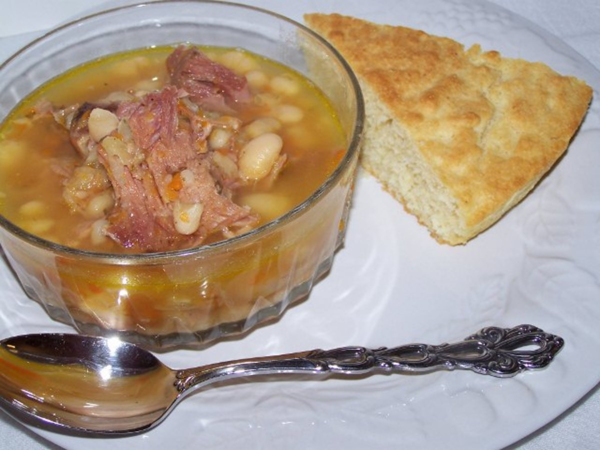 Great Northern White Beans and Ham Soup With Southern Corn Bread