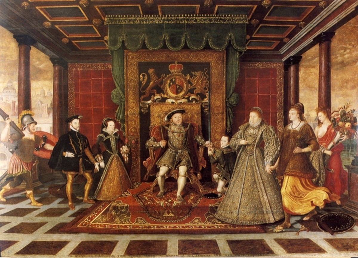 The Family of Henry VIII: An Allegory of the Tudor Succession. National Museum Cardiff. The painting shows Henry VIII (seated) with his heirs Edward VI, Mary, and Elizabeth.