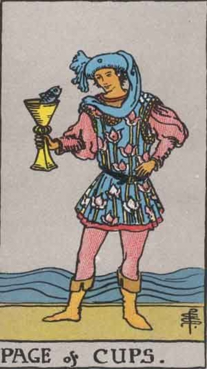 Page of Cups from the Rider Waite deck. Public domain image. Pamela A. version c 1909.