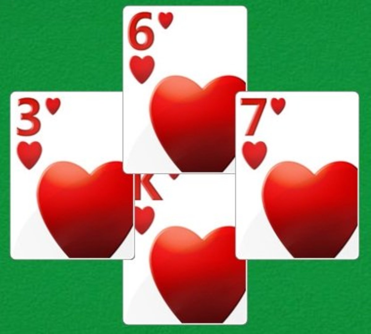 Cards played in the game of Hearts.