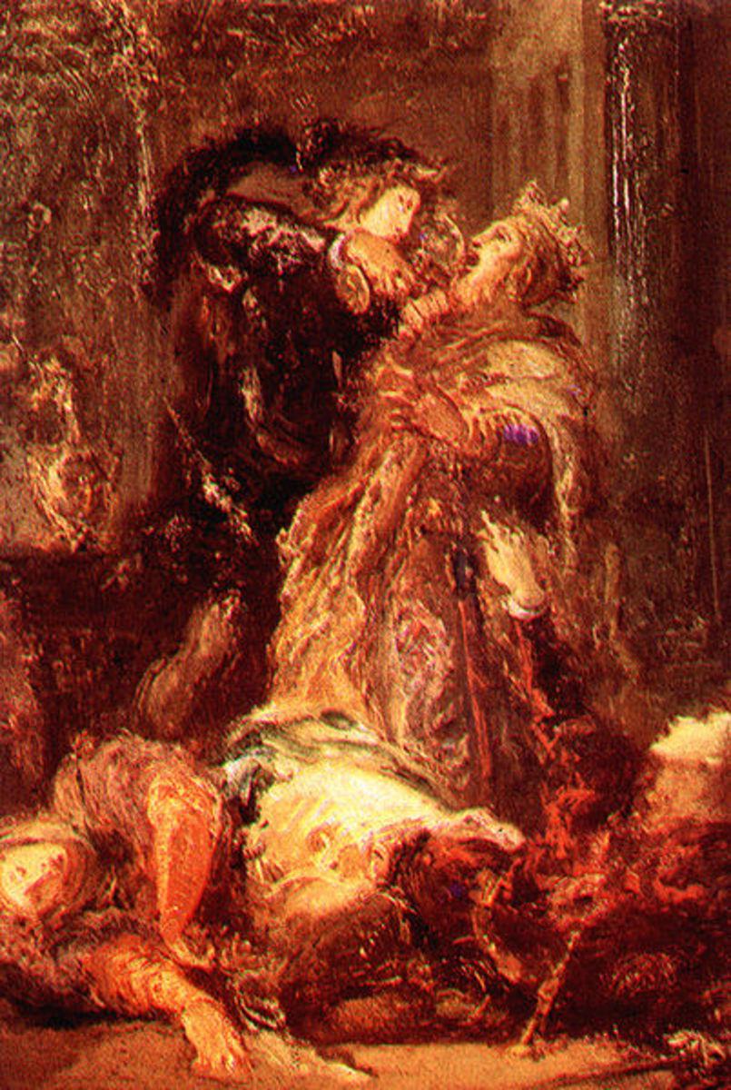 Hamlet slaying Claudius.