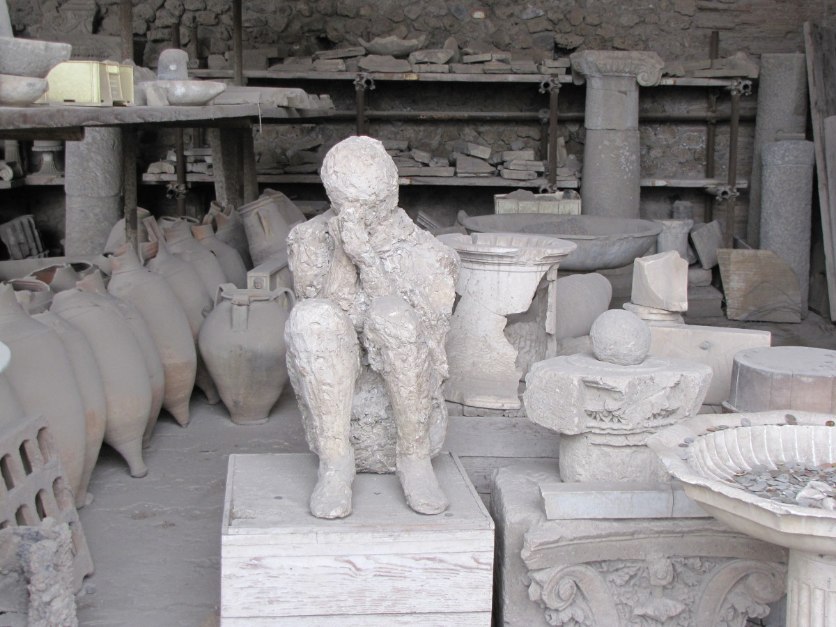 A human mold and other artifacts of Pompeii.