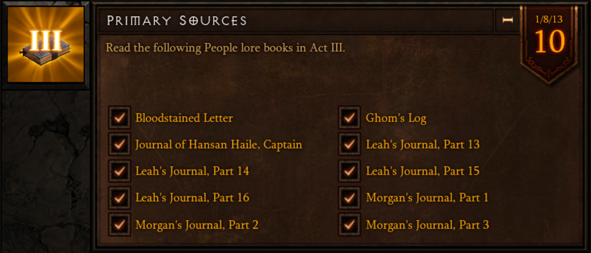 Primary Sources - Act III People Lore Book Location Guide - Diablo 3