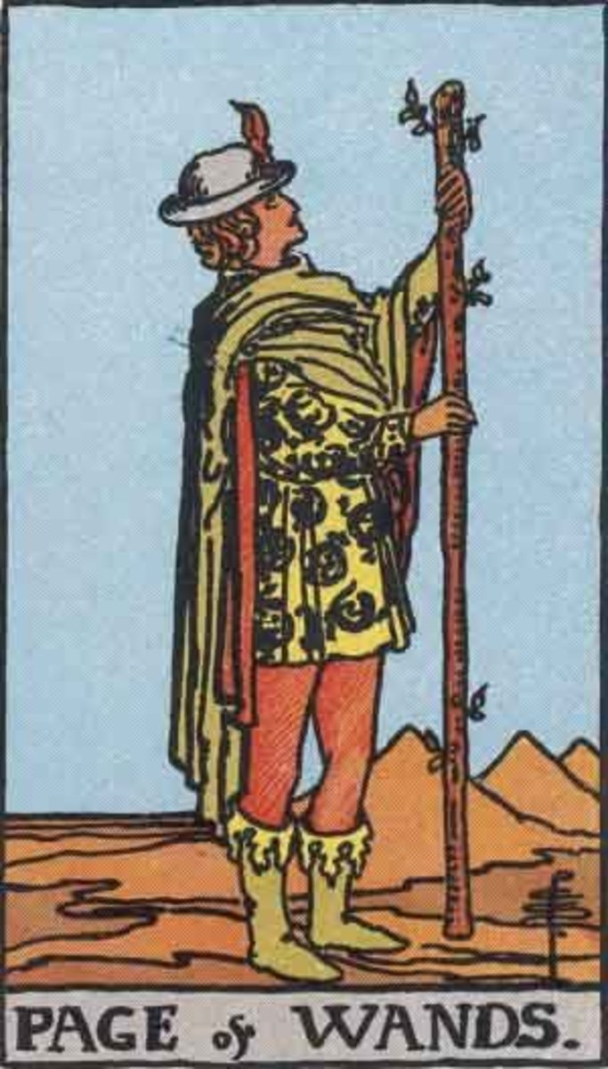 Page of Wands from the Rider-Waite tarot. Public domain image, Pamela A. version c.1909.