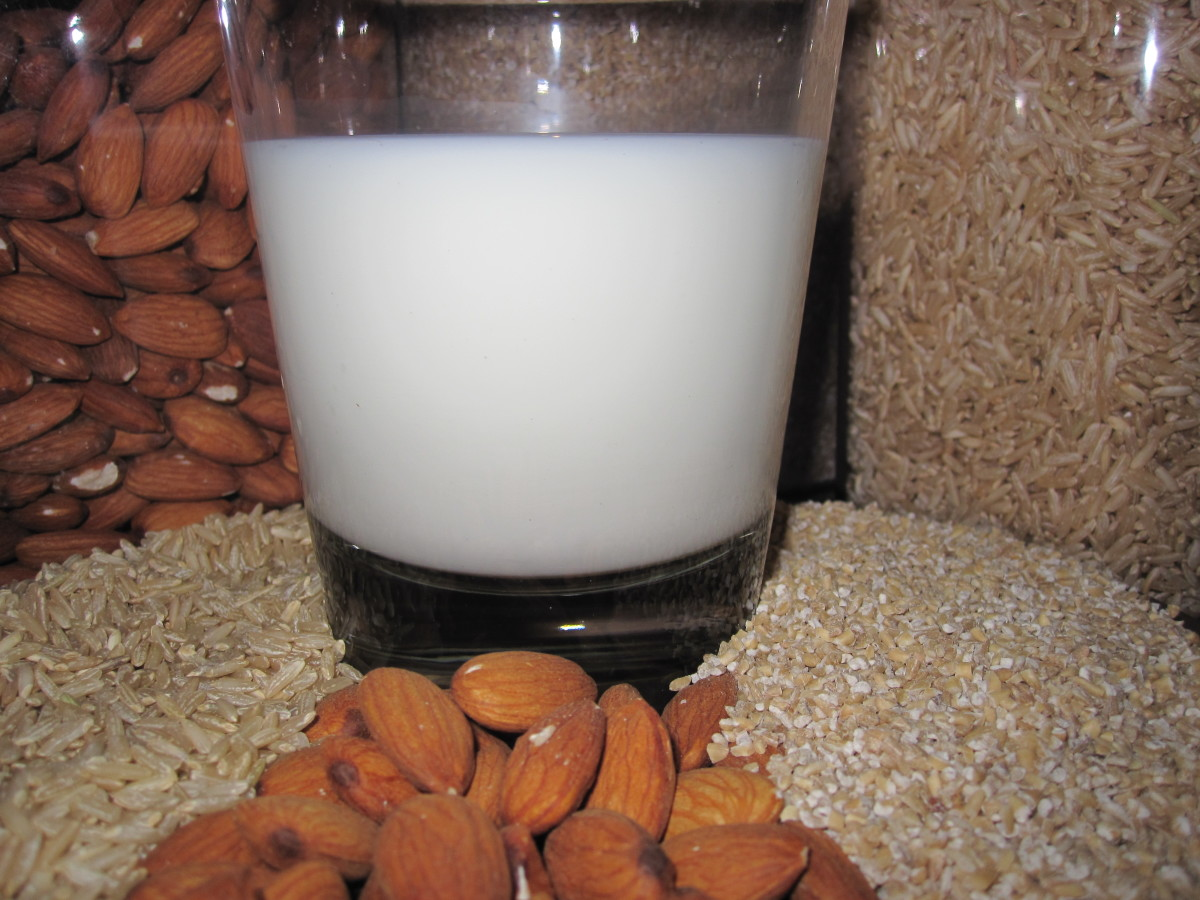 Oats, rice, and almonds can each be used to make non-dairy milk