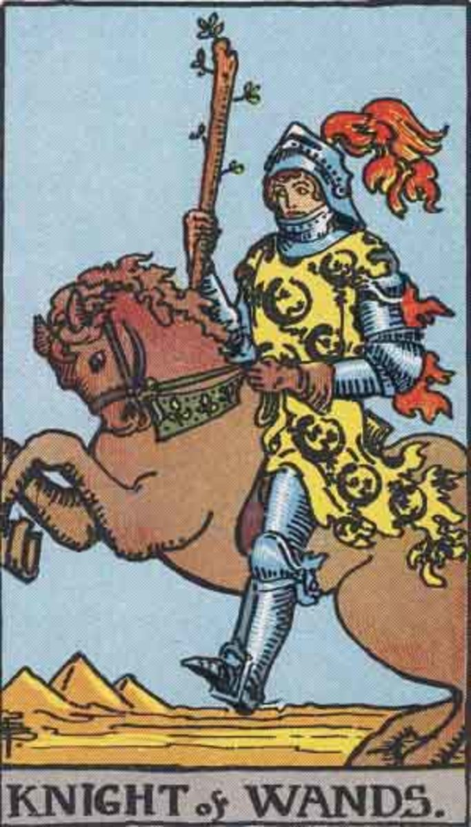 Knight of Wands from the Rider-Waite tarot. Public domain image (Pamela A. version).
