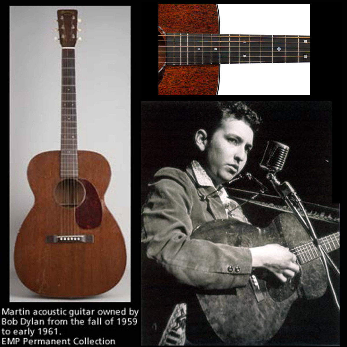 Bob Dylan and Martin Acoustic Guitars - The Martin 00-17, and The Martin 00-15.