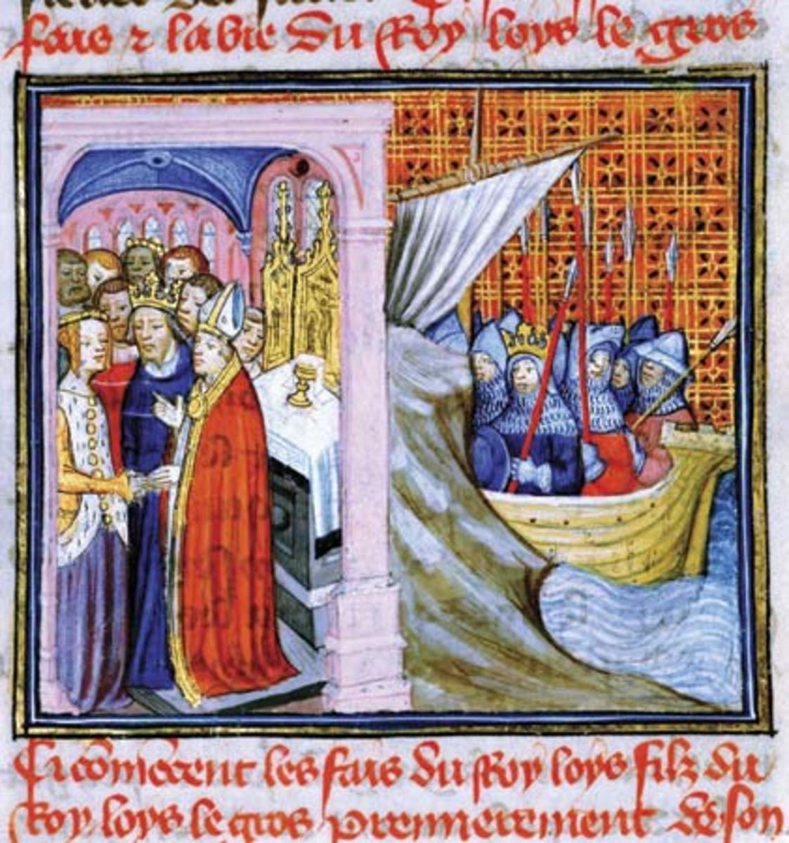 A 14th-century representation of the wedding of Louis and Eleanor; at right, Louis leaving on Crusade.