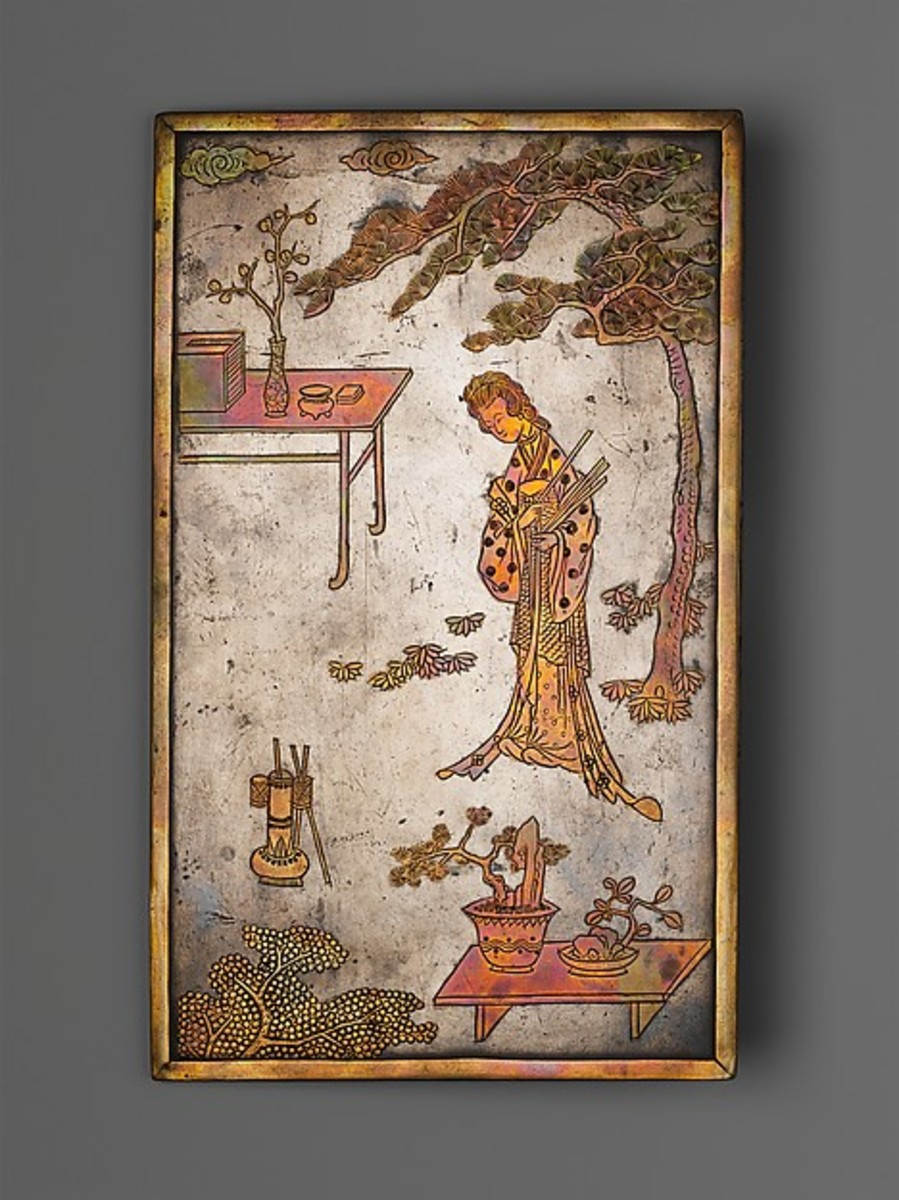 """Table screen with Woman Playing Touhu,"" Qing Dynasty (1644-1911), late 17th century, China."