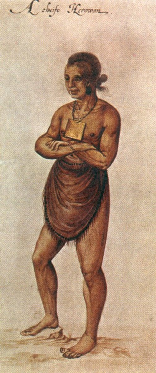 John White's portraits, done in 1585-1586, depicted Native Americans in an uncivilized way but also showed their villages as abundant.  This led many potential colonists to think that the New World was theirs for the taking.