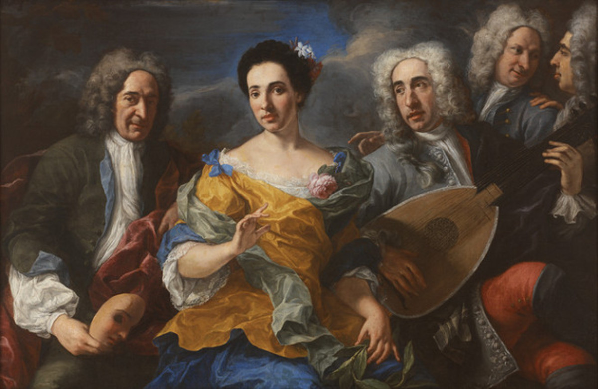 A Troupe from the Commedia dell'Arte, attributed to Pier-Leone Ghezzi (1674–1755), RISD Museum.