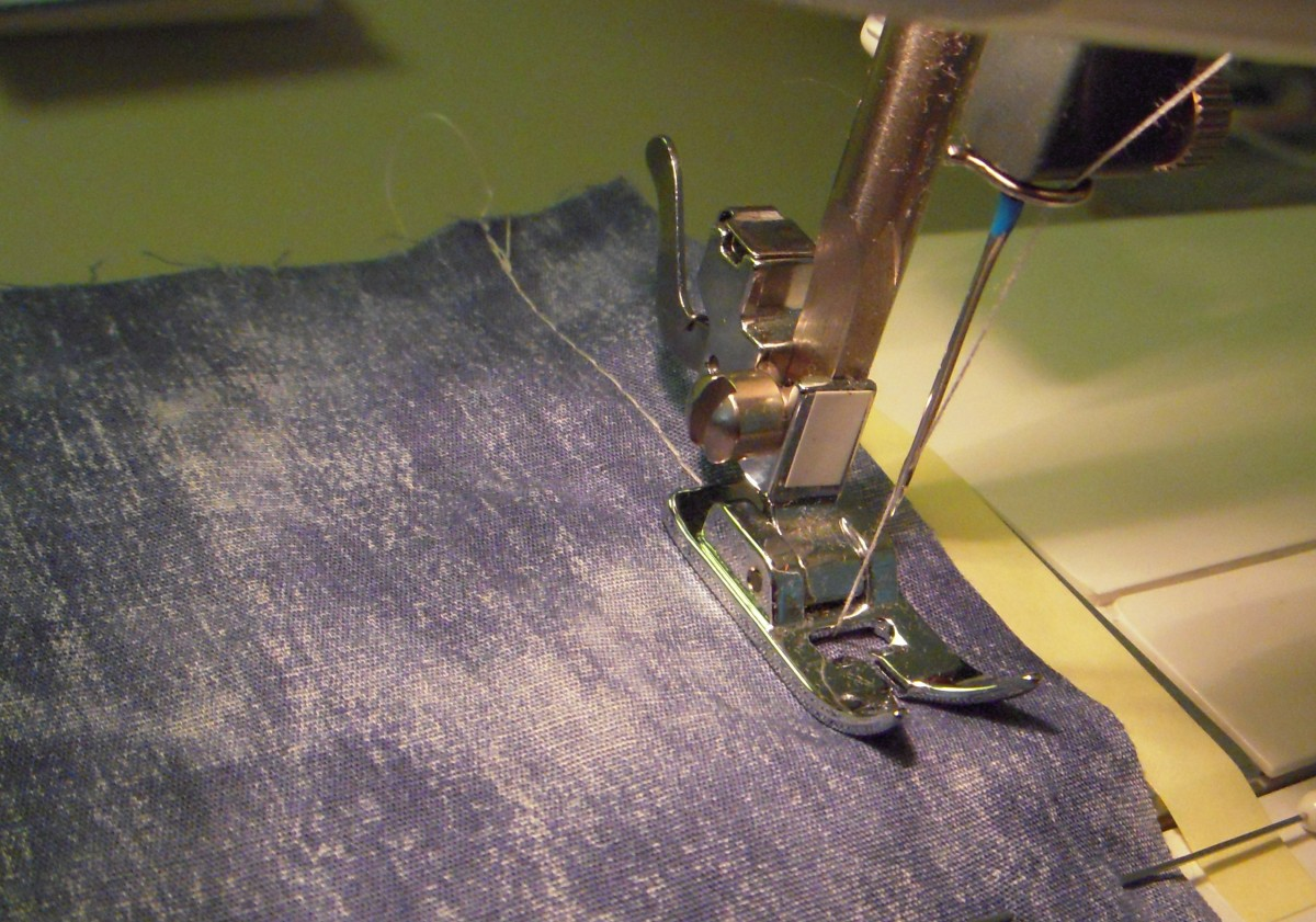 "Sewing a seam with 5/8"" allowance."