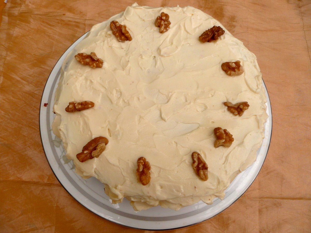 The completed carrot cake, make without added refined sugar.