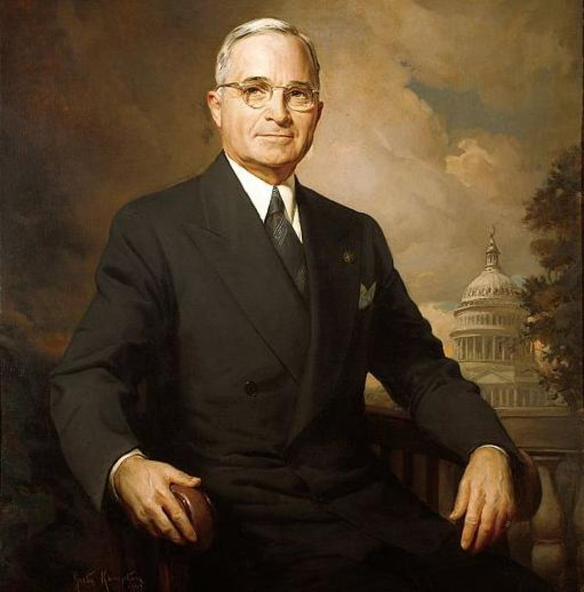 A portrait of Harry Truman.