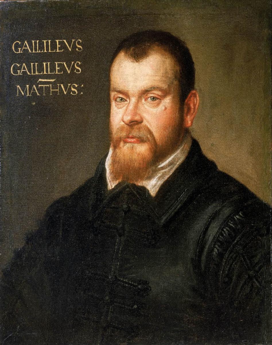 Portrait of Galileo Galilei (Feb. 15, 1564-Jan. 8, 1642) by artist Domenico Tintoretto (1560-1635). Painting dated around 1605-1607.