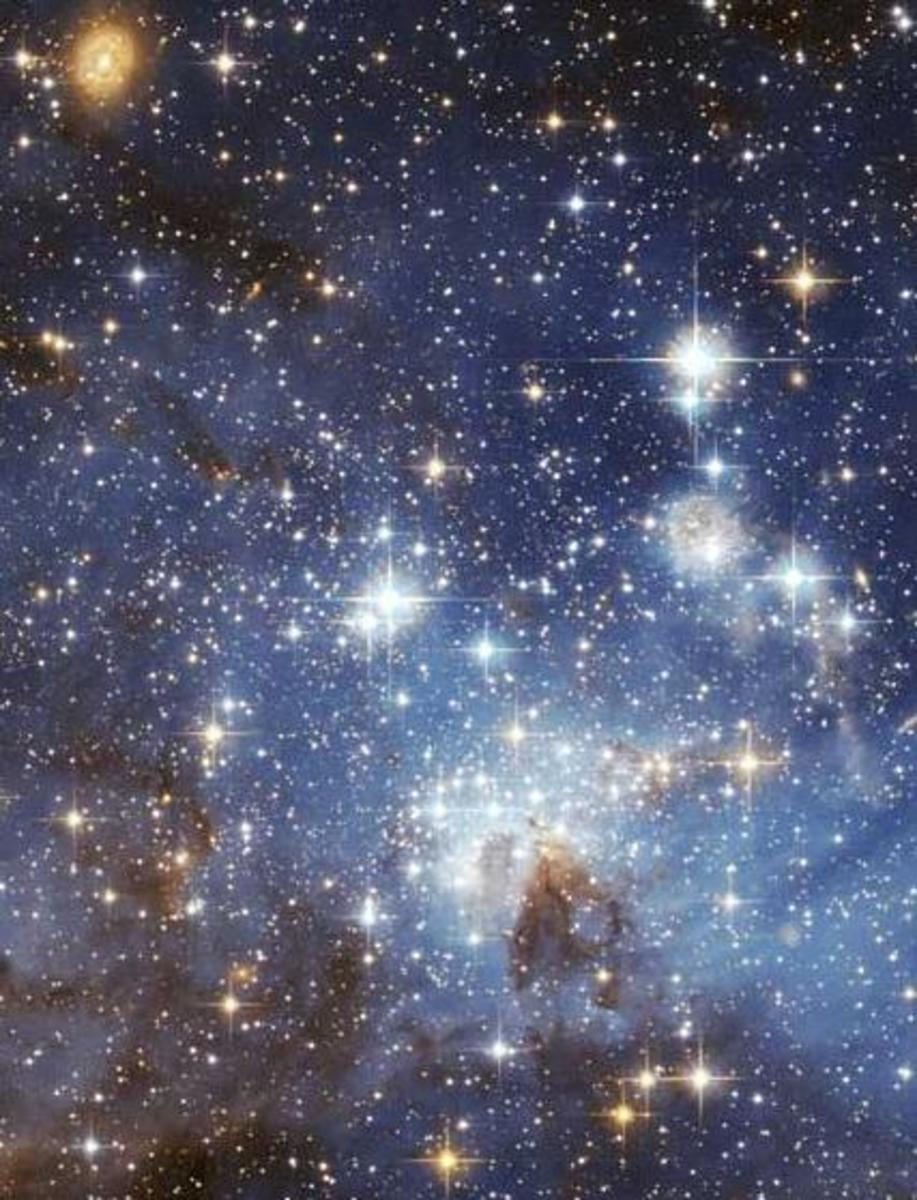 Hubble Telescope image of a star forming region in the Large Magellanic Cloud.