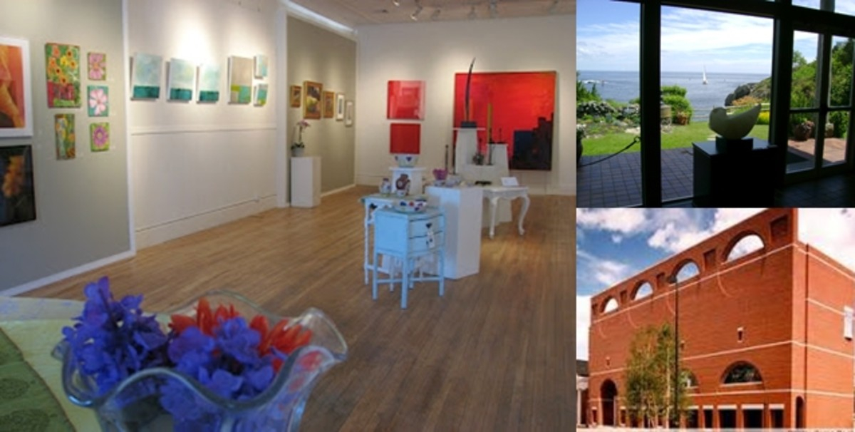 (left) gallery of Chocolate Church Arts Center, (top) Ogunquit Museum of American Art, (bottom) Portland Museum of Art